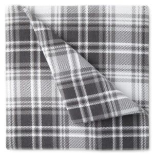 FLANNEL TWIN SHEET SET Gray Plaid 100% Cotton